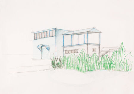 architectural styles: architectural drawing of house surrounded by plants, drawn by hand