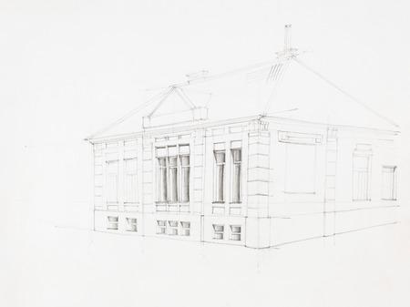 casa colonial: punto de vista arquitectónico de la vieja casa, dibujado a mano