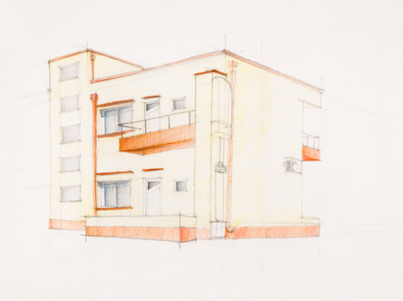 imagining: architectural perspective of modern house, hand drawn
