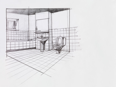 interior hand drawn perspective of an apartment bathroom