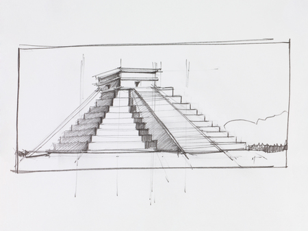maya: architectural perspective of Mayan pyramid of Kukulcan El Castillo in Chichen Itza, Mexico, drawn by hand Stock Photo