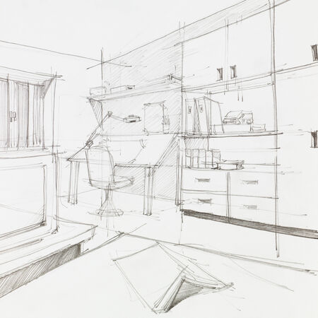 architectural drawing: graphic sketch of student bedroom and work place, drawn by hand