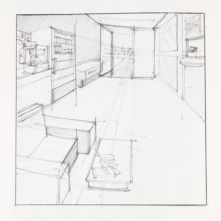drawing room: graphic skketch of architectural persppective of living room, drawn by hand