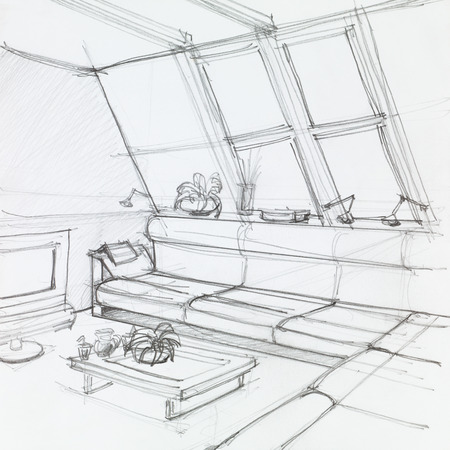 home confort: graphic sketch of attic living room, hand drawn