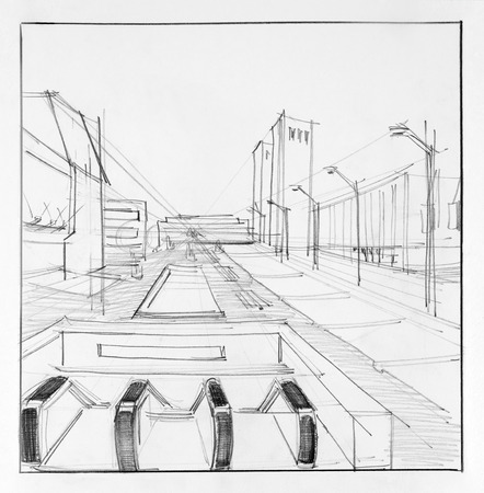 architectural drawing: architectural perspective drawing of subway entrance on street Stock Photo
