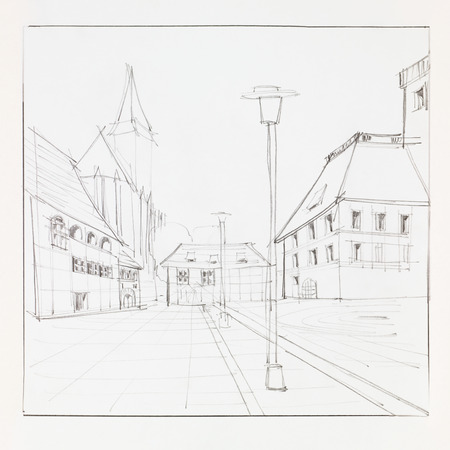 graphic sketch of Brasov Council Suare and Black Church, Romania, drawn by hand photo