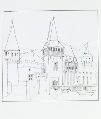 citadel: hand drawn architectural perspective of  The Hunyad Castle, medieval gothic-renaissance castle in Hunedoara, Romania Stock Photo
