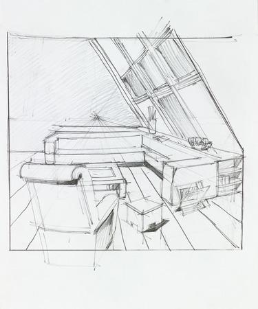 attic: graphic sketch of attic living room, hand drawn