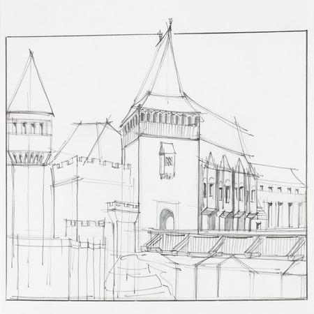 transylvania: hand drawn architectural perspective of  The Hunyad Castle, medieval gothic-renaissance castle in Hunedoara, Romania Stock Photo
