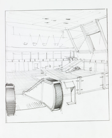 architectural perspective of interior airport with electrical staircase, drawn by hand photo