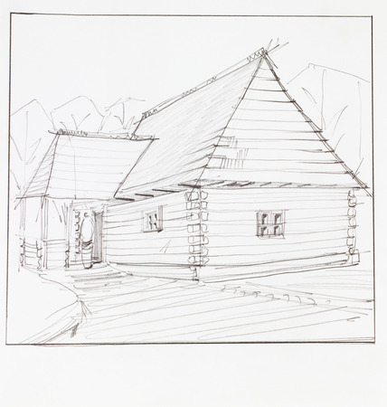 chalet: architectural perspective of wooden chalet, drawn by hand Stock Photo