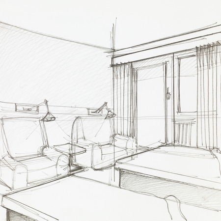 graphic sketch of hotel room with two armchairs and single beds, drawn by hand