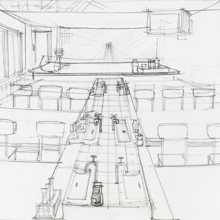 architectural studies: architectural perspective of school science lab, drawn by hand