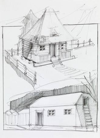 skecth: hand drawn pencil sketch of an old country house and barn Stock Photo