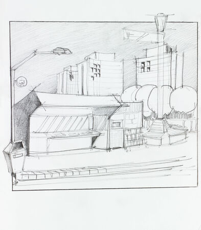 main entrance: hand drawn illustration of bus stop and residential place