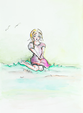 hand drawn watercolor illustration of beautiful girl sitting on her knees, looking melancholic