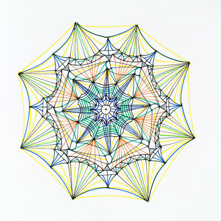 mongoloid: hand drawn colorful mandala pattern on white background