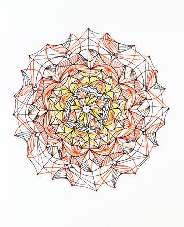 hand drawn colorful mandala pattern on white background photo