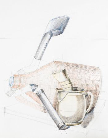 demijohn: hand drawn artistic study of composition with objects