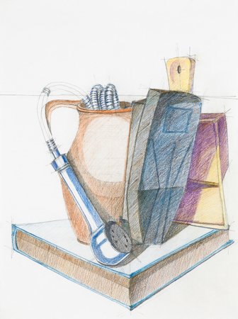 imagining: colorful artistic study of objects shapes composition, drawn by hand