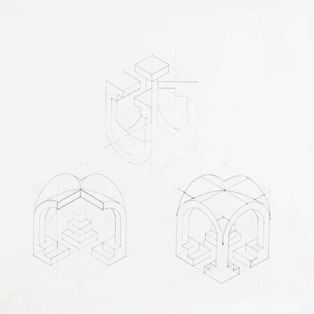 vaulted: architectural blueprint of vaulted arch, drawn by hand