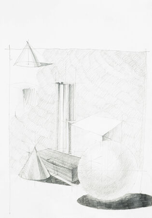 hand drawn illustration, artistic study of objects composition, gemoetric forms illustration