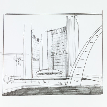 freehand drawing: architectural perspective of arabian hotel in dubai, drawn by hand