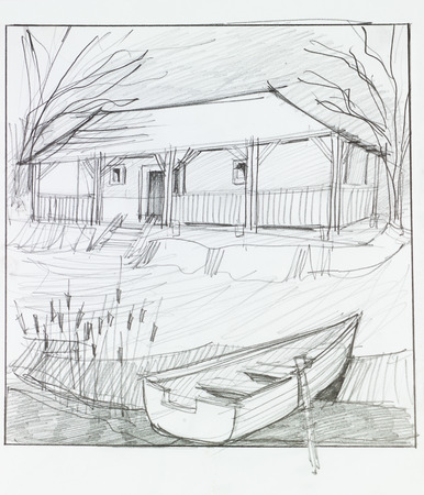 lake house: hand drawn illustration of countryside house with lake in front and wooden boat