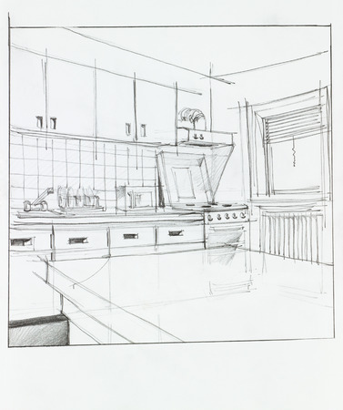 architectural: interior hand drawn perspective of kitchen Stock Photo