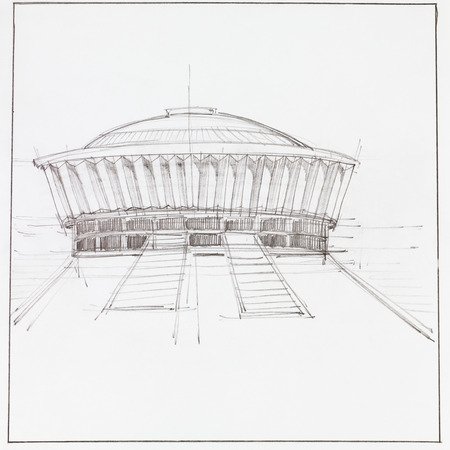 architectural drawing: hand drawn architectural drawing of modern pavillion building