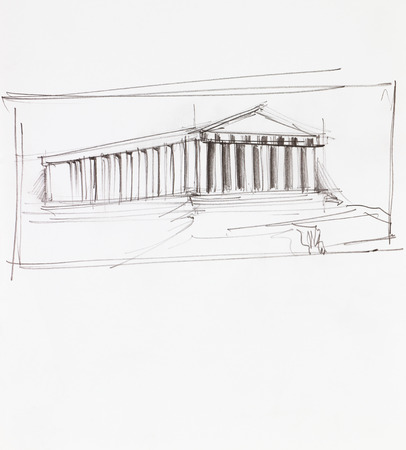 parthenon: hand drawn architectural perspective of ancient parthenon temple