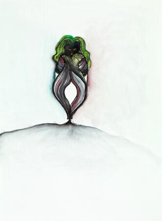 lookalike: hand drawn illustration of an imaginary, fantastic, alien lookalike woman