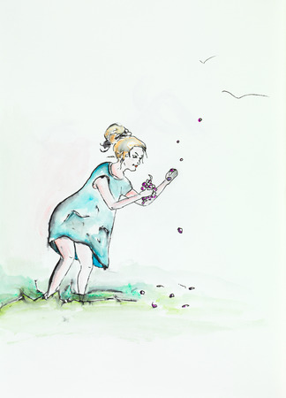 hand drawn watercolor illustration of young woman standing and holding a bunch of grapes in her hand illustration