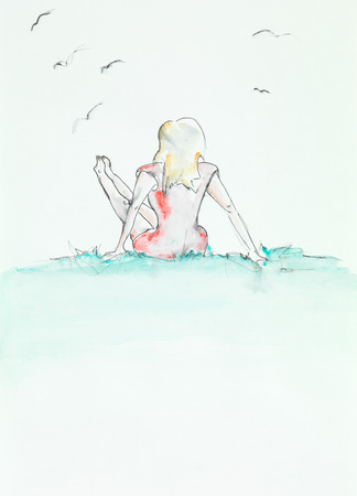 legs up: hand drawn watercolor illustration of young girl sitting on the grass, holding her legs up Stock Photo