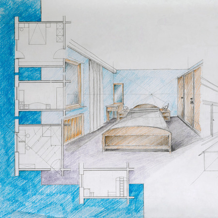 architectural styles: graphic illustration and architectural blueprint of an apartment bedroom, with colorful pencils