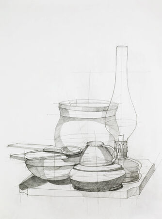 hand drawn artistic study of composition with objects photo
