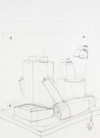 bathroom design: hand drawn artistic study of composition with objects, outlines