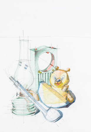 gass: artistic study of objects shapes composition, drawn by hand