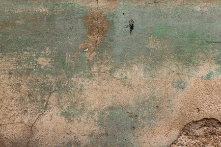 decayed: old wall texture peeling green  traces of mold Stock Photo