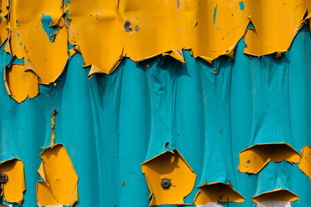 time square: The blue and yellow paint flaking vibrant colors