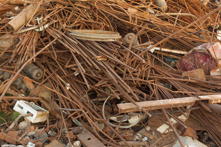 scrap iron: discarded rusty metal heap Stock Photo