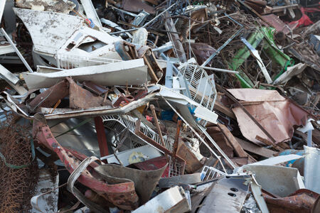 recycling center: stack of scrap metal at recycling center Stock Photo
