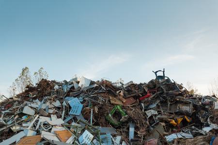 scrap metal with clear blue sky Standard-Bild