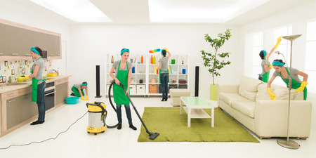 chores: same woman cleaning living room, digital composite image