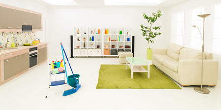 dirty room: cleaning supplies in clean modern living room