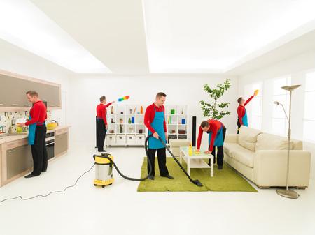 jonge blanke knappe man schoonmaak woonkamer op verschillende plaatsen tegelijk, digitaal beeld samengestelde