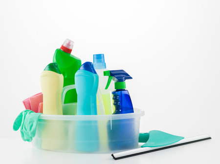 roomservice: cleaning products in basket on white background Stock Photo