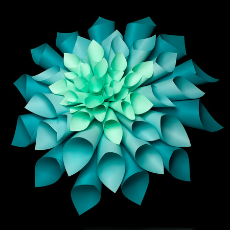 abstract image of origami flower shape made out of rolled sheets of paper on black background