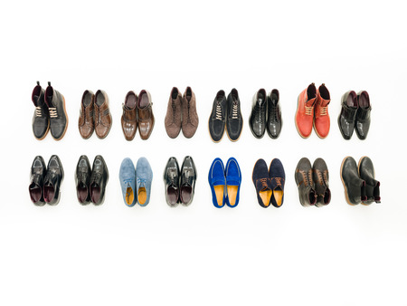 chamois leather: top view of collection of male shoes isolated on white background