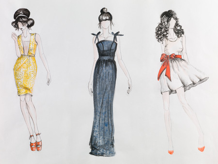 nude fashion model: hand drawn fashion sketch. women in colored dresses. watercolor and pencil drawing